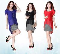 TP1440  a stripe dress and chiffon short top, M-4XL Large Size !! 2014 New Women Summer Lace Chiffon Short Sleeve Dress Top