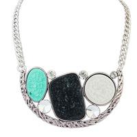 2014 Newest Design Pastoral Style Choker Necklace Vintage Bronze/Silver Geometric Gem Charms Fashion Hot Sale Women Jewelry