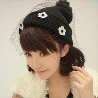 ming-009    Spot net veil small daisy knit wool cap wool hat Korean female winter jacket Harajuku winter headgear  Free Shipping