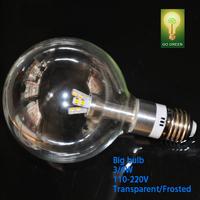 LED Big Bulb E27(G95) 3/6w D9.5CM Clear/Frosted cover For Pendant light Track light Hi-bright CE Rosh Warm whtie/white 2Pcs/Lot