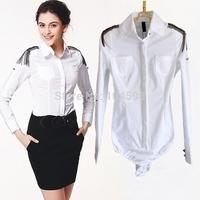 Fashion Metal badges women blouse OL Long-sleeved office lady Occupation body shirt blouse Free shipping bodysuits shirt vciv24
