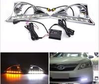 Chrome LED Daytime Running Turn Signal Fog Light Lamp for Toyota Camry 2011-2013