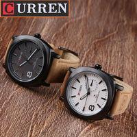 2014 CURREN 8139 Unisex Stylish casual wrist watch Quartz Analog watch with Leather Strap relogio masculino Men Wristwatches