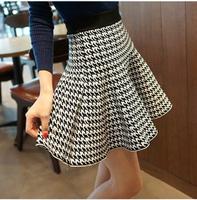 New 2014 Autumn Winter Fashion Women Skirts Casual Cute Above Knee Mini Short Skirt High Waist Wool Skirt Vintage Pleated Skirt