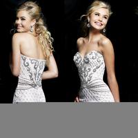 Luxury Beading Crystal Prom evening dress 2014 Sexy Sweetheart vestido de festa short dress party evening elegant for wedding