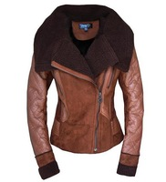 Hot-selling 2014 New Fashion Winter Women Fur Jacket Down Collar Wool Jacket Fur suede motorcycle jacket