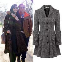 Single breasted wide wasisted women's cashmere coat 2014 NEW woolen coat woman jacket winter overcoat Woollen coat long outwear