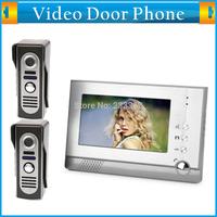 High Definition 7 Inch Color TFT LCD Display Home Video Door Phone Doorbell Intercom System Kit 1-camera 2-monitor Night Vision