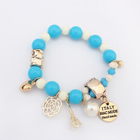 2014 Europe and America Popular All-match Simple Sweet Beads Bracelet Alloy Bangle For Women Retail&Wholesale Free Shipping