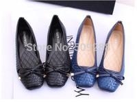 new  Fashion women's flats  weaving bowtie square toe Flat shoes Big yards women's shoes size:35-41