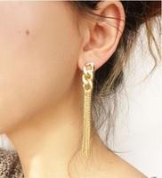 2014 Hot Selling Retro Women Long Chunky Chain  Earrings Fancy Dress Golden Tassel Chain Earrings