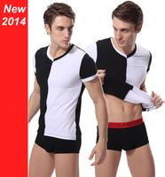 2014 New Men's T Shirt Short Sleeve V-neck Cotton TeeCamisa Gola Em V Manga Curta Duas Cores Varias Combinacoes Size M/G/GG XXL