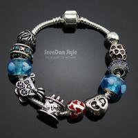 925 Silver CZ Stone Birthday Cake Charms European Murano Glass Beads Love Bracelet+Gift Pouch PBS097