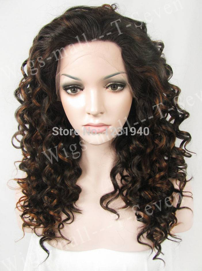 Dark brown curly hair with