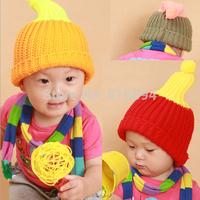 5 colors baby hat caps warm winter boy girl cap kid's knitting cap fluorescent color hit color Douding caps