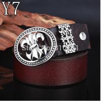 Men's real Leather Belts Titanium steel oval belt buckle with jeans belt ,Pure cowhide Vintage belt Free Shipping