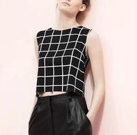 New Fashion Ladies' elegant black white plaid short blouses sexy back split sleeveless Shirts casual slim brand tops