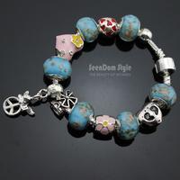 925 Silver Angel Pendant CZ Stone Enamel Heart Flowers Charms European Murano Glass Beads Love Bracelet+Gift Pouch PBS098