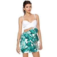 Banana Leaf Digital Print Design Big Bow Decoration Slim Skirt Elastic Tight Skirts Factory Dropshipping
