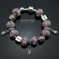 Love You 925 Silver Love Heart Charms Clover Pendants Pulseiras European Murano Glass Beads Love Bracelet+Gift Pouch PBS099