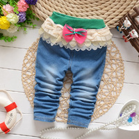 Free shipping 2014 New Autumn Baby Girls Soft Jeans Fashion Pants Trousers B114