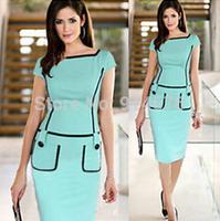Free Shipping 2014 Women Dress Slim Pencil Dresses Light Blue Work Fashion Wear vestido de festa Hot Sale