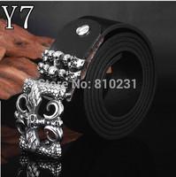 2014 Designs belt Skull titanium steel belt buckle fashion Men's real Leather Belts Elements of punk accessories