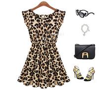 Summer Dress 2014 New Spring Casual Leopard Print Microfiber XL Model Size Women Ruffles Dresses
