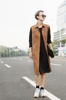 2014 fall fashion for women Vest Women Long Khaki Trench colete Waistcoat Cardigans feminino veste femme Autumn Dress Shirt Coat