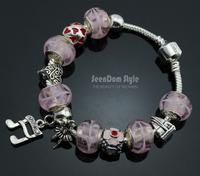 925 Silver Dangle Music Notes Dancing Bailarina Charms Pulseiras European Murano Glass Beads Bracelet+Gift Pouch PBS100