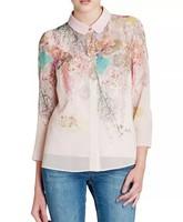 New Fashion Ladies' elegant floral print OL style blouses vintage long sleeve shirts casual slim brand designer tops