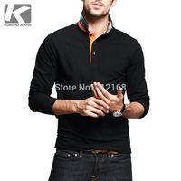 PT-7813# Brand KUEGOU 2014 New Men's Fashion Casual Elastic  Long Sleeve Polo Shirts