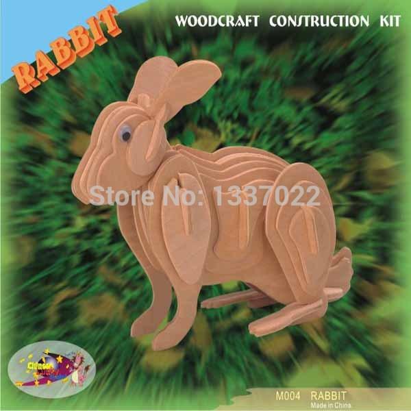 China Manufacture 3D Felt Wood Puzzle For Kids IQ Puzzle - Rabbit(China (Mainland))