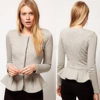 Autumn Women Short Slim Cardigans Ruffles Hem Coat Ladies OL Cotton Jacket M-XXL Black/Gray/Pink SV004949