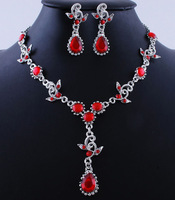 Charms Red Water Drop Acrylic Stone Tassel Choker Statement Necklace Earring Set