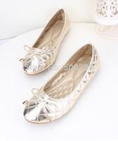 Fashion line pressing grid bowtie  flat shoes  casual Soft bottom Big yards Women's shoes European size 35--41