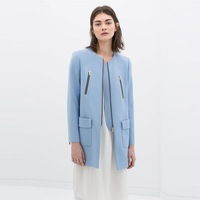New Fashion Ladies' elegant blue zipper pockets coats long sleeve office lady outwear casual slim brand designer coats