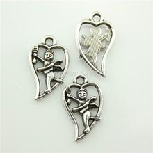 free shipping 60pcs antique tibetan silver love angel cupid charm pendants 23*13mm diy jewelry accessories