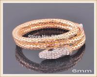 Full Champagne Rhinestone Punk Rock Music Gold Color Alloy Big Snake Bracelet Men Wholesale Charming Bangles