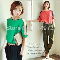 chiffon shirt  female 2014 new large size women's Korean version spell color chiffon blouse loose linen Free Shipping