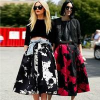 2014 fashion vintage silk  printed skirt high waist  midi long swing ball gown skirts female  saias femininas S142031