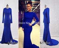2014 New Design O-Neck Regular Full Sleeves Criss-Cross Back Sain Long Elegant Evening Dresses with Real Picture