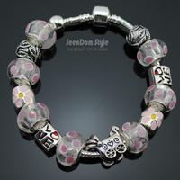 925 Silver Enamel Flowers Charms Love Baby Stroller Pulseiras European Murano Glass Beads Bracelet+Gift Pouch PBS107