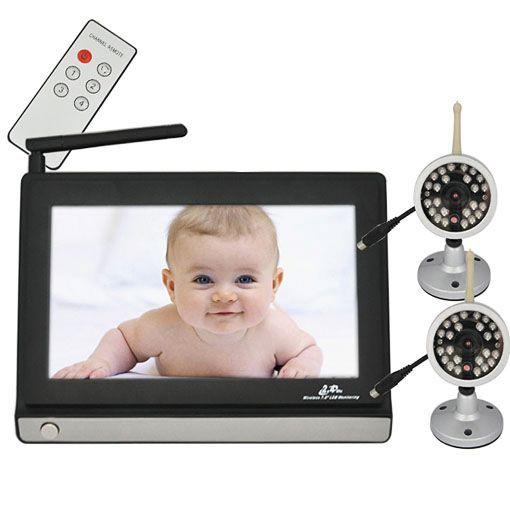 Vídeo sem fio babá eletrônica com monitor de LCD de 7 polegadas sem fio de 2,4 GHz e 2 câmera com controle remoto