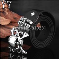 Free Shipping Punk titanium steel belt buckle Skull leather belt For men  fashion Vintage leisure belt Top quality