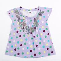 NOVA kids baby wear new clothing printed butterflies and sequin polka dot girls short sleeve brand fashion T-shirts  K1720