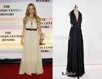 2014 New Design Halter Sleeveless Open Back Sain Long Elegant Evening Dresses with Real Picture