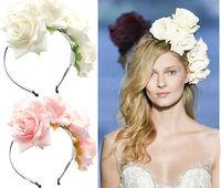 5PX Handmade Floral Crown Rose Flower Headband Hair Garland Wedding Headpiece Tiara