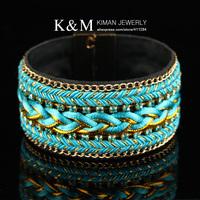 NEW  Punk Designer Jewelry Blue Braided Rope Rhinestone Magnetic Bracelet and Bangles Costume Jewelry!Mini order is $10