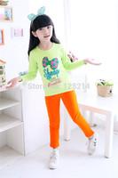 Free Shipping Children's Clothing  2014 Autumn Korean Girls Cotton Cartoon Bow Long Sleeve T-Shirts Bottoming Shirt